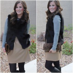 Black Faux Fur Vest Shrug